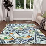 Sweethome Stores $100 Dollar Bill Area Rug, 5X7, Multicolor, Multi Color (SH-STK3112-5X7)
