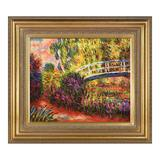 La Pastiche The Japanese Bridge (The Water-Lily Pond, Water Irises) by Claude Monet Framed Wall Art, Multicolor, 34X30