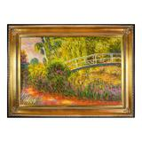 La Pastiche The Japanese Bridge (The Water-Lily Pond, Water Irises) by Claude Monet Framed Wall Art, Multicolor, 44.5X32.5