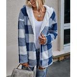 Supreme Fashion Women's Non-Denim Casual Jackets BLUE - Blue & White Buffalo Check Reversible Hooded Jacket - Women