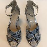 Jessica Simpson Shoes | Jessica Simpson Ankle Strap Open Toe Heels Snake. | Color: Gray | Size: 6.5