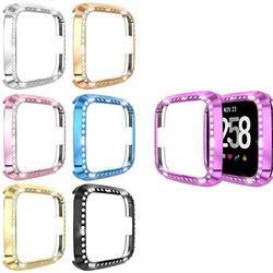 [7er-Pack] kompatibel mit Fitbit Versa und Versa Lite, PC-beschichtete Abdeckung mit Bling Diamant Kristall Strass stoßfeste Bumper Shell (schwarz + silber + pink + lila + blau + gold + rotgold)