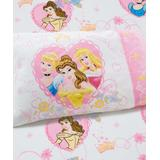 Disney Girls' Fitted Sheets Pink - Disney Princess Pink Castle Dreams Fitted Toddler Sheet & Pillowcase Set