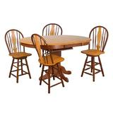 Birch Lane™ Elick 5 - Piece Solid Oak Dining Set in Brown, Size 30.0 H in | Wayfair 59D9B8A953B24F389ACB14AD9FE4236B