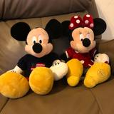 Disney Toys | Mickey And Minnie Plush Toys | Color: Black/Red | Size: Approximately 16 Inches