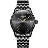 MASTOPMens Automatic Mechanical Watch Classic Automatic self Wind Watch Stainless Steel Business Analog Dress Watch (Black)