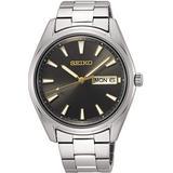 Seiko Quartz Grey Dial Stainless Steel Men's Watch SUR343P1