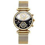 RORIOS Women Watches Women's Chronograph Quartz Watch with Stainless Steel Mesh Strap Multifunction Ladies Wristwatch Fashion Dress Watch for Women Girls