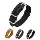 CIVO Watch Band Genuine Crazy Horse Leather Watch Bands NATO Zulu Military Swiss G10 Style Watch Strap 20mm 22mm (Black, 18mm)