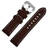 TIME4BEST Strap Canvas Black Nylon Watch Band Watch Strap Mens Watch Womens Watches 22mm 24mm 26mm Wrist Bands Straps 5 Colors (22mm, Brown with White Stitching)