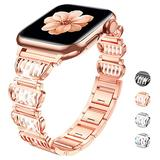 GamCap Replacement Strap Compatible with Apple Watch 38mm 40mm 42mm 44mm,Dressy Diamond Adjustable Metal Bracelet Watch Band for Apple Watch Series 6 Series 5 4 3 2 1 SE for women (ROSE GOLD,42/44mm)