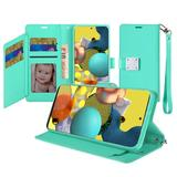 Magnetic Metal Snap Two Row Credit Card Holder Mobile Phone Wallet Case with Wristlet, Teal For Galaxy A51 5G