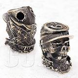 CooB EDC Paracord Bead Beads, Bead for Knife Lanyard, Charm Pendant USA Confederate Skull. Metal Hand-Casted Beads Charms for Paracord Bracelets, Knives Lanyards 1pcs/Lot (Confederate Skull)