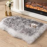 Asrug Super Soft Fluffy Shaggy Faux Fur Rug No Shedding Faux Sheepskin Chair Cover Seat Pad Sofa Pad Couch Pad Fuzzy Plush Area Rug for Living Room Bedroom, 2ft x 3ft, White with Grey Tips
