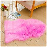 Faux Sheepskin Fur Fuzzy Rug with Rug Grippers for Hot Pink Area Rug, 2x3 Ft Small Furry Rugs, Alfombras para Habitacion, Bedside Fluffy Rug Fur Rugs for Bedroom, Living Room, Home Decor, Photography
