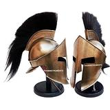 Medieval Armour King Leonidas Greek Spartan 300 Roman Helmet with Black Wooden Stand Black Plume