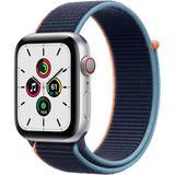 Apple Watch SE GPS + Cellular, 44mm, Silver Aluminum, Deep Navy Sport Loop Band MYEN2LL/A