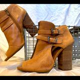 Jessica Simpson Shoes   Leather Peeptoe High Heel Boots   Color: Brown/Tan   Size: 10