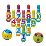 Reimotkon Kids Bowling Set, Bowling Game Toy Set with 10 Bowling Pins 2 Bowling Balls Plastic Colorful Number Pins Early Educational Development Indoor & Outdoor Toys for Kids (199C)