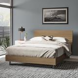 AllModern Huntington Solid Wood Platform Bed Wood/Wood & Metal/Metal in Brown/Gray, Size 76.0 W x 91.0 D in | Wayfair