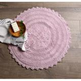 August Grove® Lisk Circle 100% Cotton Solid Bath Rug 100% Cotton in Indigo, Size 28.0 W x 28.0 D in   Wayfair CAMZ37152