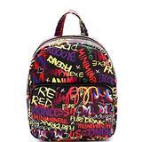 Retro Vintage Multicolor Colorful Graffiti Vegan Leather Tote Purse Handbag (Medium Pocket Backpack - Dark Multi)