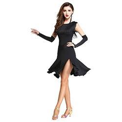 ZX Damen Tanzkleid Fransen Rundhals Ärmellos Split Leg Ballsaal Tanzen Latein Salsa Tango Kleid mit Shorts - Schwarz - Mittel