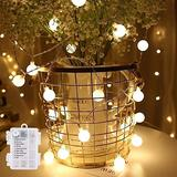 amadecohome Mini Globe String Lights Battery Operated, 8 Modes 50 LED Waterproof Fairy Lights for Bedroom Tapestry Indoor and Outdoor Christmas Tree Party Decoration (Warm White-50LED)