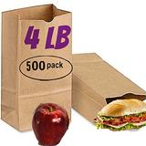 500 brown paper lunch bags 4 lb brown paper sacks bags lunch 4lb kraft brown paper bags sandwich brown paper bags 4 Pound Lunch Bags, Party Bags Pack of 500 brown lunch bags bulk (Brown)