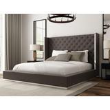 Abrazo Bed King Dark Grey Faux Leather, Tufted Headboard, Stainless Steel Trim Along Headboard Footboar - Whiteline Modern Living BK1356P-DGRY