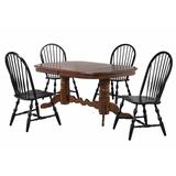 Sunset Trading Andrews 5 Piece Double Pedestal Dining Set With Chestnut Brown Table And Antique Black Windsor Chairs - Sunset Trading DLU-ADW4296CT-C30-AB5PC