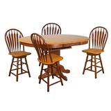 Sunset Trading Oak Selections 5 Piece Pedestal Butterfly Leaf Pub Table Set with Swivel Barstools - Sunset Trading DLU-TBX4266CB-B24-NLO5PC