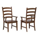 Sunset Trading Simply Brook Ladder Back Dining Arm Chair ( Set of 2 ) In Amish Brown - Sunset Trading DLU-BR-C80A-AM-2