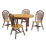 Sunset Trading Oak Selections 5 Piece Drop Leaf Extendable Dining Set With Arrowback Chairs - Sunset Trading DLU-TDX3472-820-NLO5PC