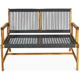 LDAILY Moccha Wood Rope Patio Bench, Modern Outdoor Acacia Park Garden Patio Furniture, 2-Person Solid Wood Patio Loveseat, Knitting Bench with Armrest & Backrest