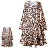 Perfashion Matching Girls Doll Dress Leopard Print Outfits 18 inch Winter Clothes Pocket 8 9