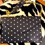 J. Crew Bags   J. Crew Polka Dot Faux Leather Vegan Shoulder Bag   Color: Black/Gray   Size: Os