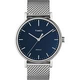 Timex Men's Fairfield 41mm Watch – Silver-Tone & Blue with Silver-Tone Stainless Steel Mesh Bracelet