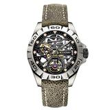 Boderry Urban Titanium Skeleton Men's Watches Fashion Automatic-Self-Winding Mechanical Analog Wrist Watch for Men with Leather Straps Wristwatch 40MM
