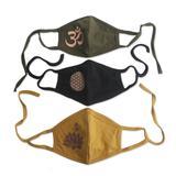 Silkscreen rayon face masks, 'Positive Mantras' (set of 3)