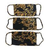 Rayon batik face masks, 'Golden Island Foliage' (set of 3)