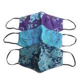 Rayon batik face masks, 'Summer Blossoms' (set of 3)
