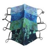 Rayon batik face masks, 'Island Blossoms' (set of 4)
