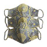 Rayon batik face masks, 'Sunny Island Wind' (set of 3)