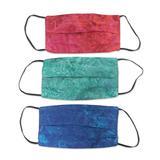 Rayon batik face masks, 'Colorful Tropics' (set of 3)