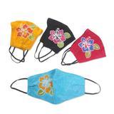 Rayon batik face masks, 'Balinese Hibiscus' (set of 4)