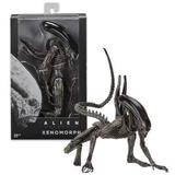 Junww Aliens Scale Xenomorph Alien Action Figure Extendable Inner Mouth Covenant Moive Collectible 2017 NECA Alien Series Black- with box