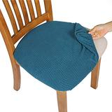Comqualife Dining Chair Covers, Stretch Jacquard Dining Chair Protector, Removable Washable Anti-Dust Upholstered Chair Seat Cover for Dining Room, Kitchen, Office(Set of 6, Blue)