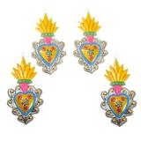 Metal ornaments, 'Yellow Hearts Aflame' (set of 4)