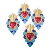Metal ornaments, 'Blue Hearts Aflame' (set of 4)